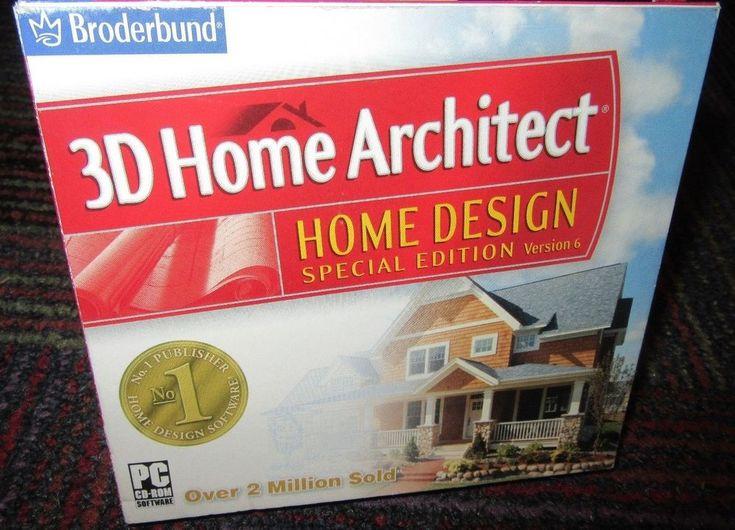 3D HOME ARCHITECT: HOME DESIGN SPECIAL ED. VER.6 PC CD-ROM, WIN 98/2000/XP, GUC #Broderbund