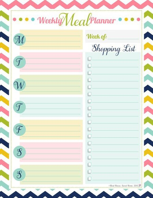 Free Weekly Meal Planner Pastel colors Make meal planning fun!