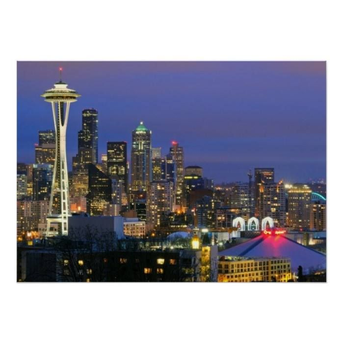 Customizable #Architecture #Building#Exterior #City #City#Life #Cityscape #Color#Image #Consumerproduct #Horizontal #Illuminated #Night #No#People #Outdoors #Photography #Seattle #Sky #Skyline #Skyscraper #Travel#Destinations #Usa #Washington#State Seattle seen from Kerry Park in Queen Anne Poster available WorldWide on http://bit.ly/2i3KCAl