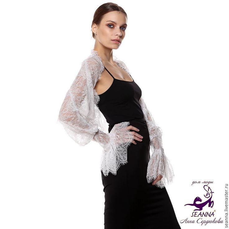 """Купить Болеро безразмерное """"Нежнейшее свадебное шантильи"""" с пышными манжетами - безразмерное болеро, безразмерная одежда"""