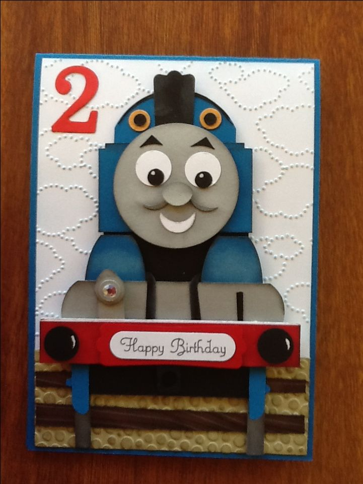 Thomas The Tank Engine Card That I Made For My Grandson S 2nd Birthday Xo Grandma Birthday Card Kids Birthday Cards Birthday Cards For Boys