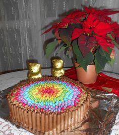 Gâteau Fleur en toutes les couleurs avec smarties et fingers