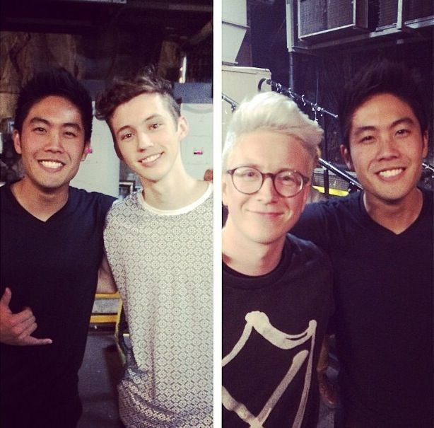 Ryan Higa with Troye Sivan and Tyler Oakley.