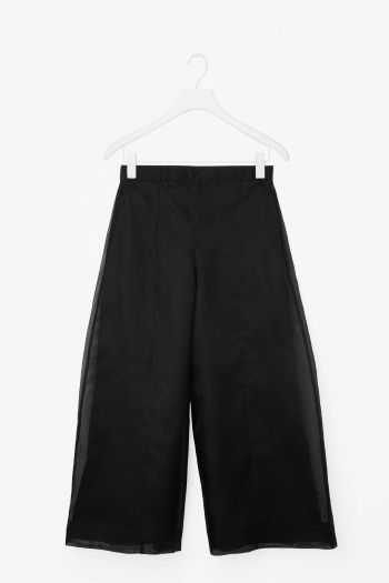 COS image 2 of Silk mesh trousers in Black