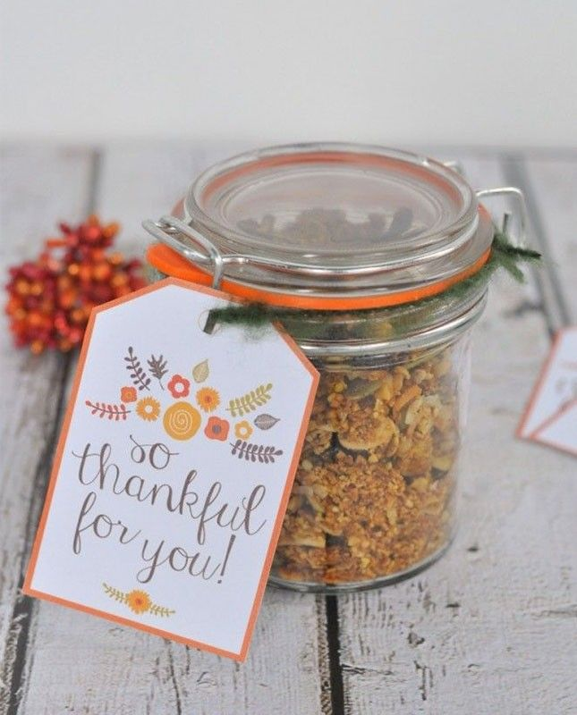 Fill a jar with homemade-anything for Thanksgiving guests + add a printable gift tag like this one.