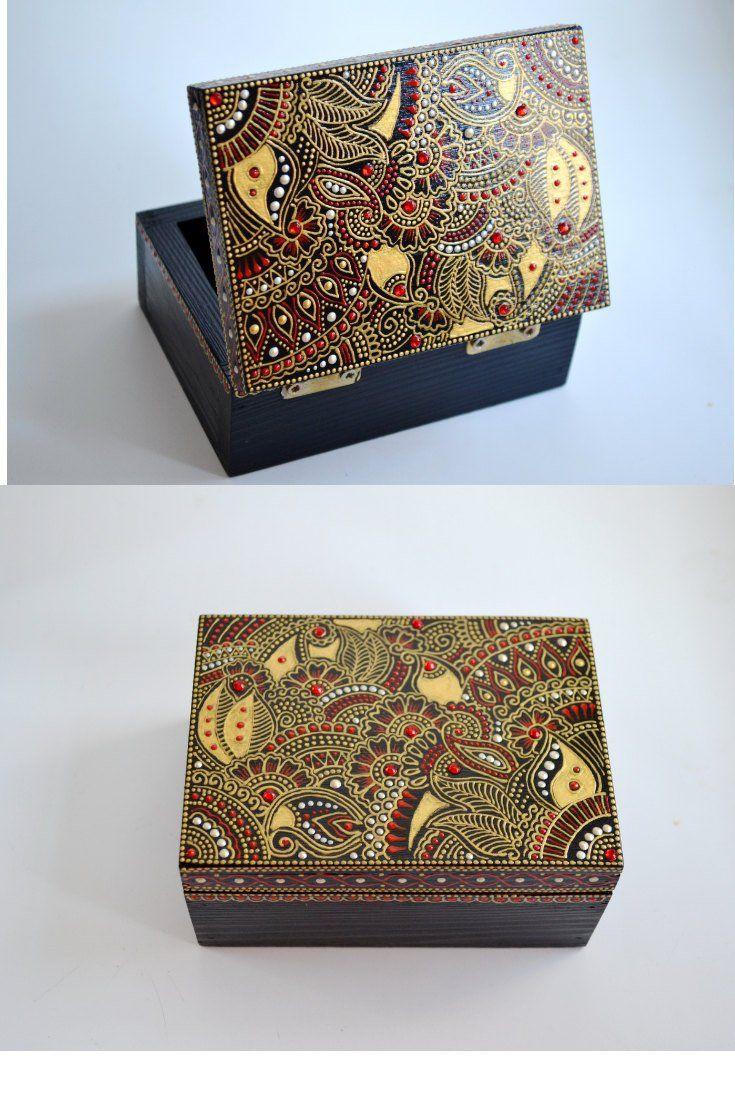 Personalized Wooden Jewelry Box Henna Art Box Hand Painted Etsy Wood Jewelry Box Painted Wood Jewelry Wooden Jewelry Boxes