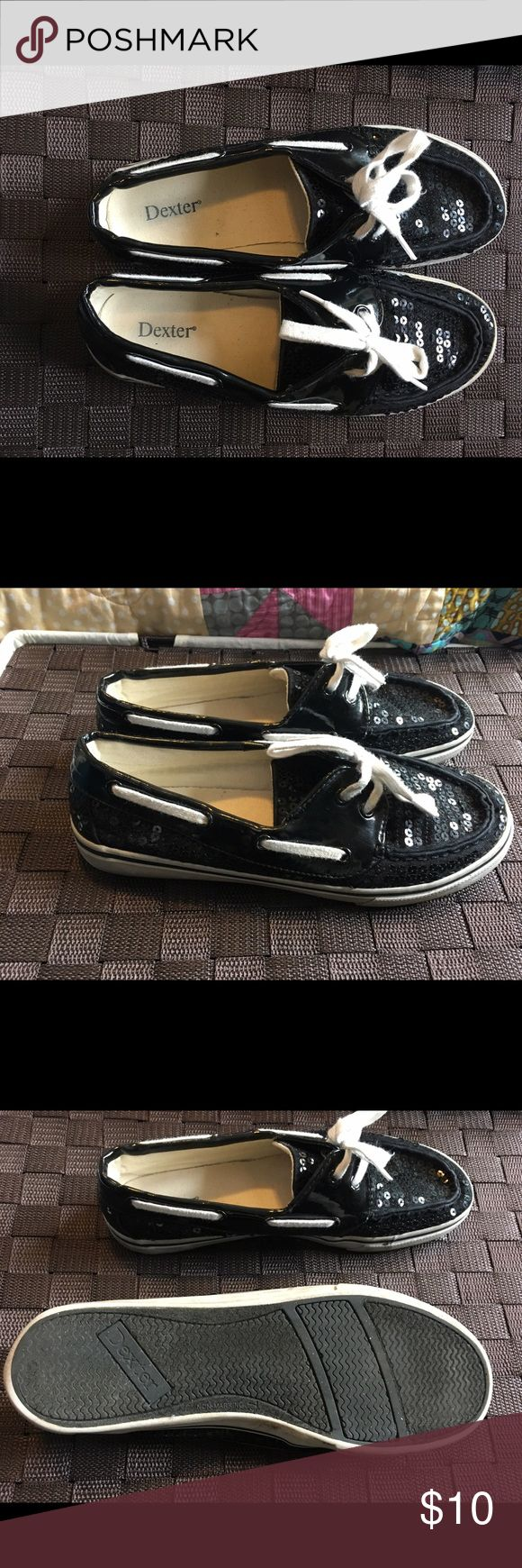 Sequin Black Boat Shoe Black Boat shoe with white shoelaces dexter Shoes Flats & Loafers