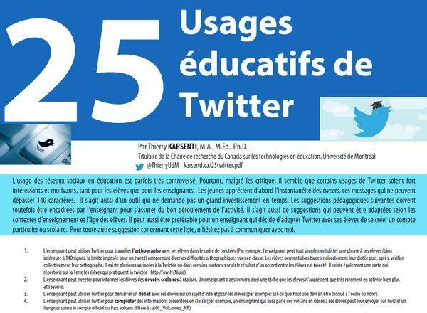 25 usages éducatifs de Twitter http://karsenti.ca/25twitter.pdf