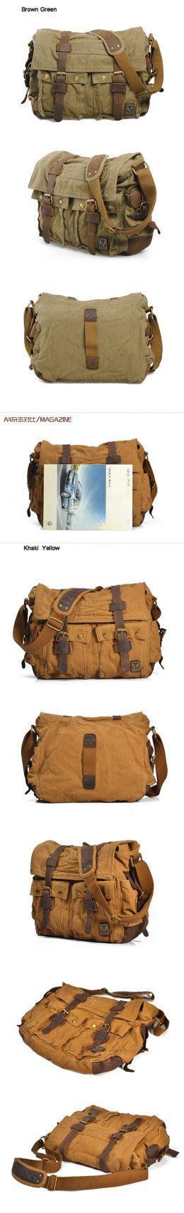 Military bag messenger men shoulder leather on Etsy, $148.89
