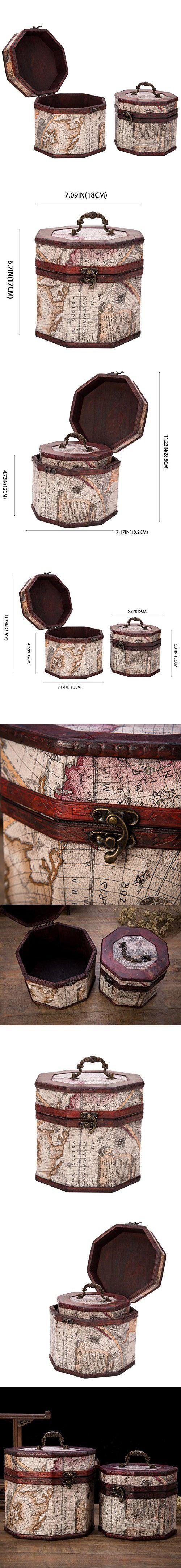 558 best decorative jewelry boxes images on pinterest jewel box vintage style world map pattern wooden octagon jewelry treasure box storage organizer trinket keepsake chest set gumiabroncs Image collections