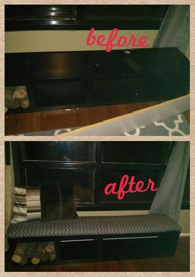 DIY- old entertainment center to window bench seating :)