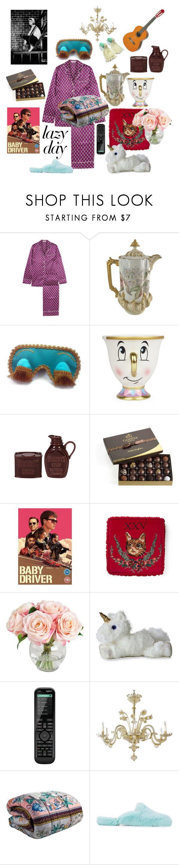 """lazy day"" by cocoshampoo ❤ liked on Polyvore featuring Olivia von Halle, POSH, Tiffany & Co., Disney, Fitz & Floyd, Godiva, Gucci, Logitech, Versace and Natasha Zinko"