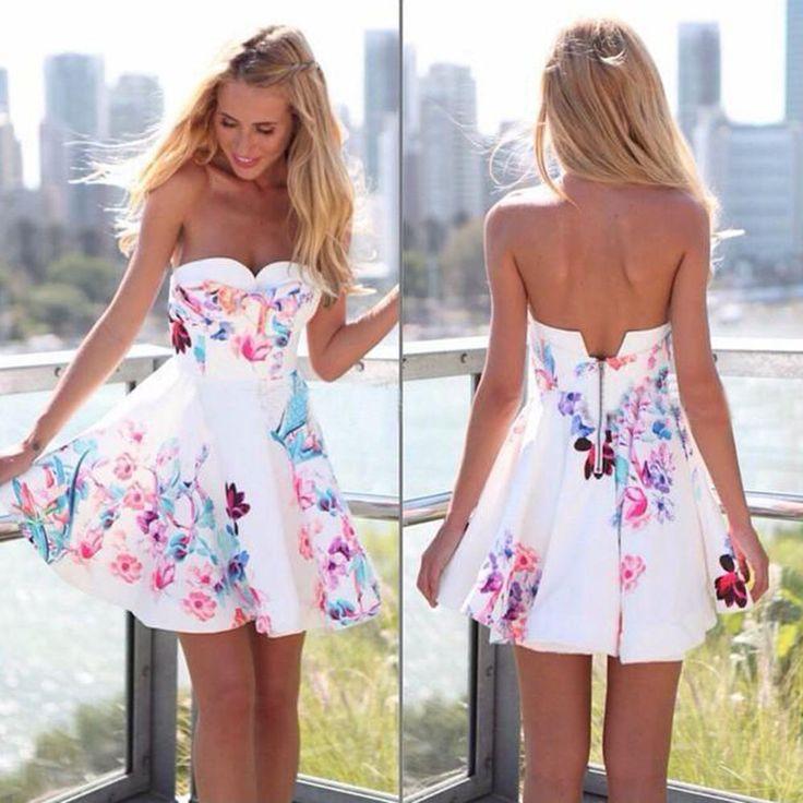 Sexy-Damen-Ärmellos-Blumendruck-Kurz Minikleid-Party kleidLeger-Sommer-Kleidung in Kleidung & Accessoires, Damenmode, Kleider | eBay!