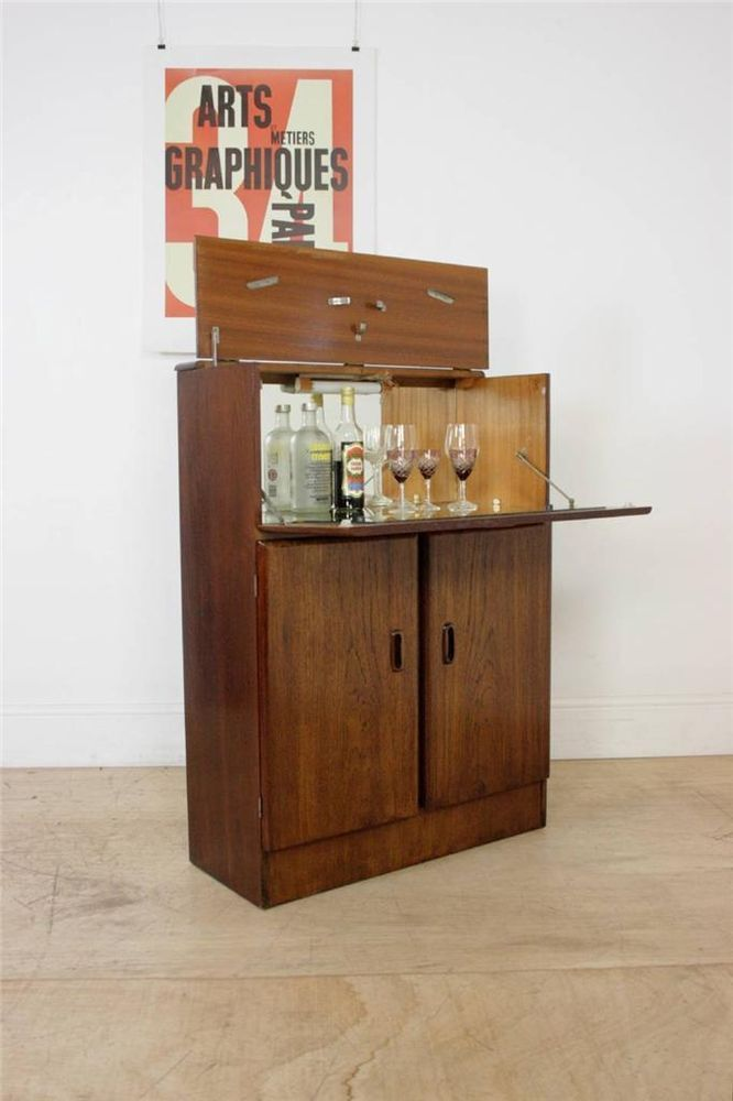 Vintage Mid Century Modern Bedroom Set: Mid Century Retro 60's Teak Drinks Cabinet Bar In Antiques