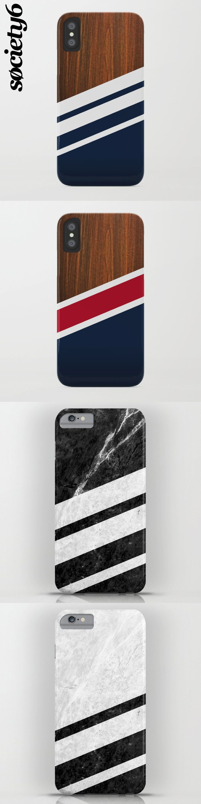 A collection of cool, striped designed cases for iPhone and Samsung #iphonecase #iphone #samsung #case #stripe #striped #materials #wood #marble #navy #newengland