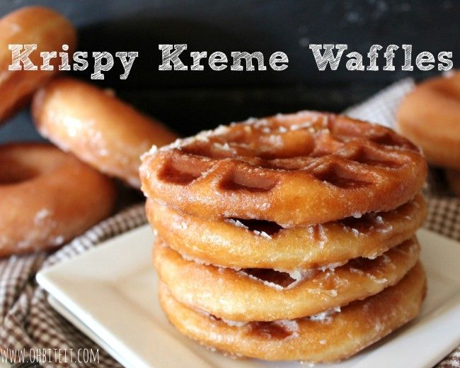 Stack 'em up!  Krispy Creme Waffles...cannot even imagine...press the donut in a waffle iron...imagine the calories on that plate.