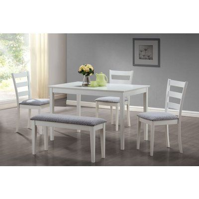 Monarch Specialties 5 Piece Dining Set With A Bench And 3 Side Chairs White