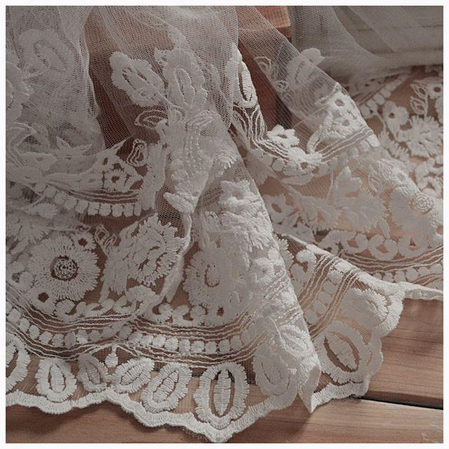 35 см ширина, 5 ярдов / серия, Хлопок марля кружево отделка, Одежда аксессуары украшение вышивка кружевная ткань