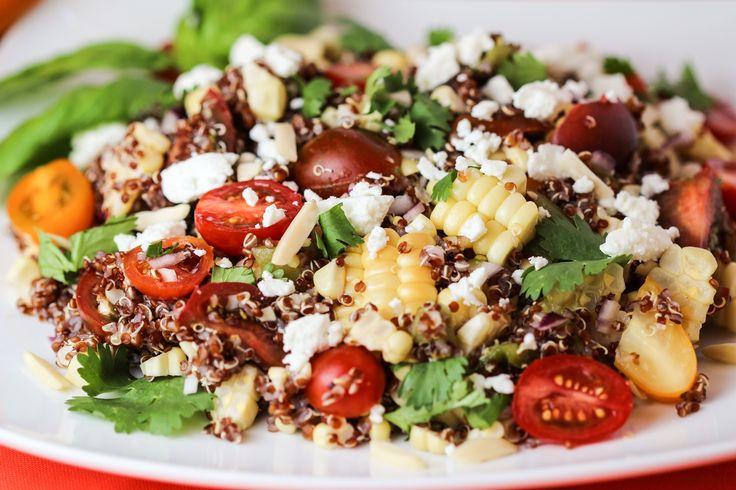 Grilled Corn, Tomato and Feta Quinoa Salad with Citrus Vinaigrette #salad #corn #quinoa