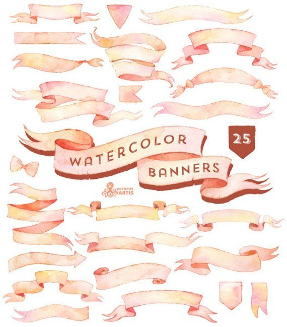 Watercolor Banners Ribbons Clipart 25 Digital Files Light