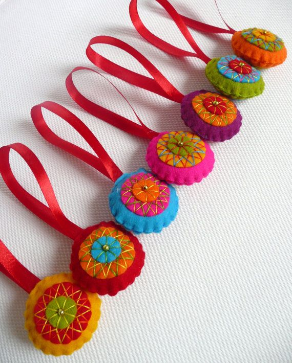 Colorful felt christmas tree decorations