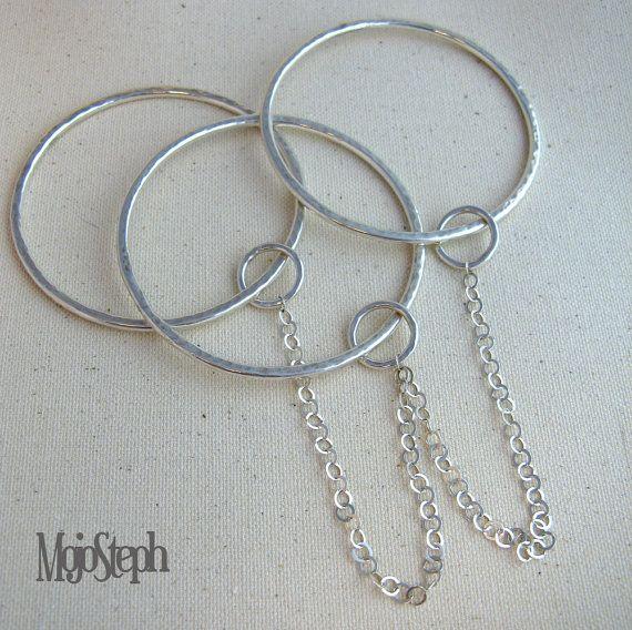 Keep It Together Handmade Triplicate Silver Bangle on Etsy, £125.00