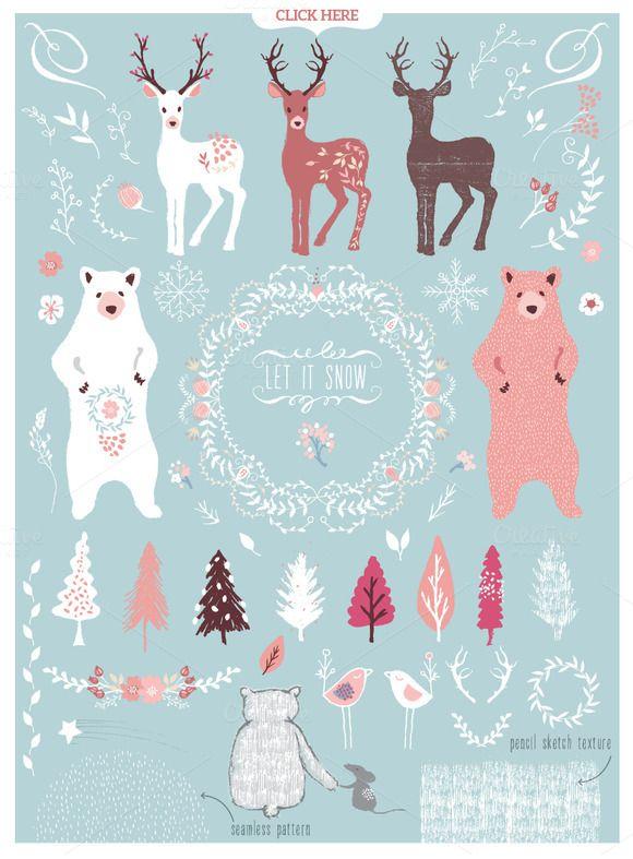 White Christmas Designer's Toolkit. #illustrator