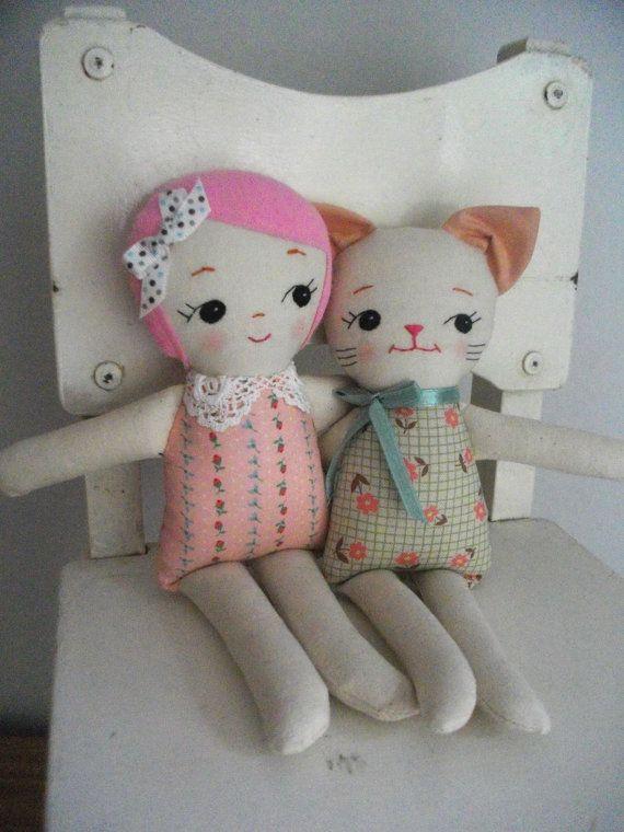 PINKHAIRED RAGDOLL - Classic handmade cloth doll plush toy rag doll gift for girls