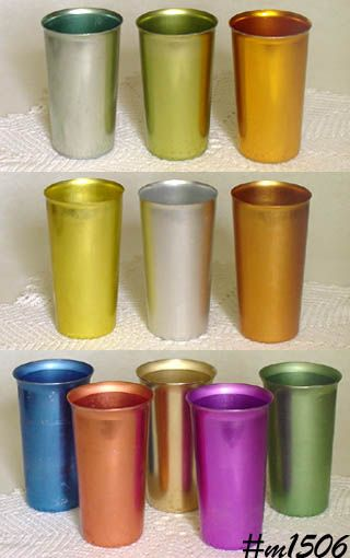 Reminds me of being at my aunts' house: Drinks Glasses, Aluminum Glasses, Aluminum Drinks, Cottages Cheese, Metals Cups, Aluminum Tumblers, Aluminum Cups, Aunt, Cold Drinks