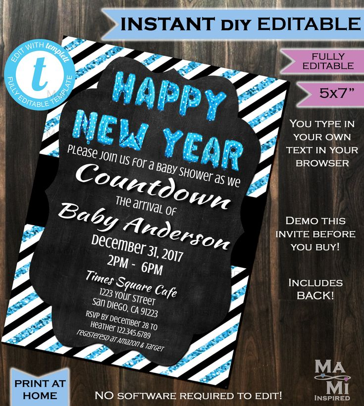 baby shower bbq invitation templates%0A New Years Baby Shower Invitation New Year Baby Sprinkle Invite Blue Glitter  Black White Template Custom