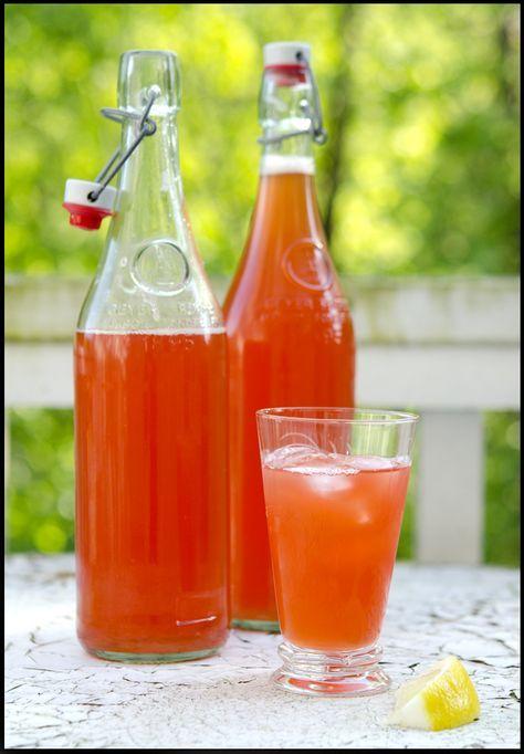 Forfriskende rabarbra- og jordbærsaft