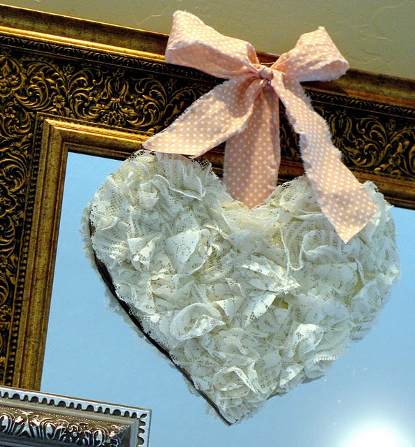 Use that old lace valance and make heart or wreath