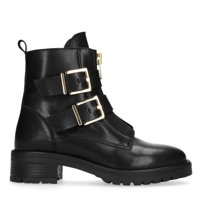 Zwarte biker boots met gouden gespen Damesschoenen – SACHA