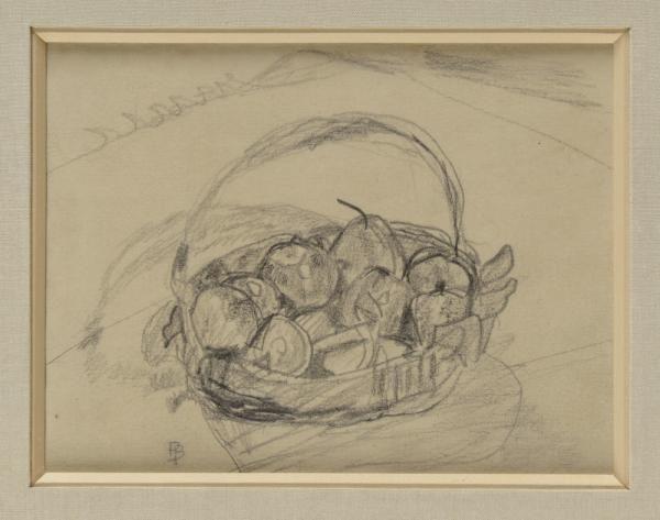 Pierre Bonnard, 1867-1947 Panier de fruits, 1930 Dessin au crayon noir Monogramme en[...], Bonnard, La Collection Antoine Terrasse à Osenat | Osenat