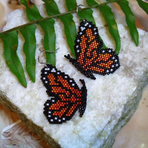 Beaded Monarch Butterfly Wing Dance Earrings / by TuppersPerch, $56.00