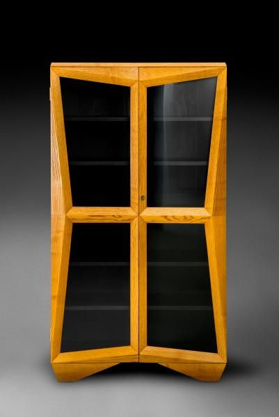 cubism furniture. a bookcase designed by pavel jank in this iconic piece of furniture is made light ash veneer and the interior stained contrasting black cubism
