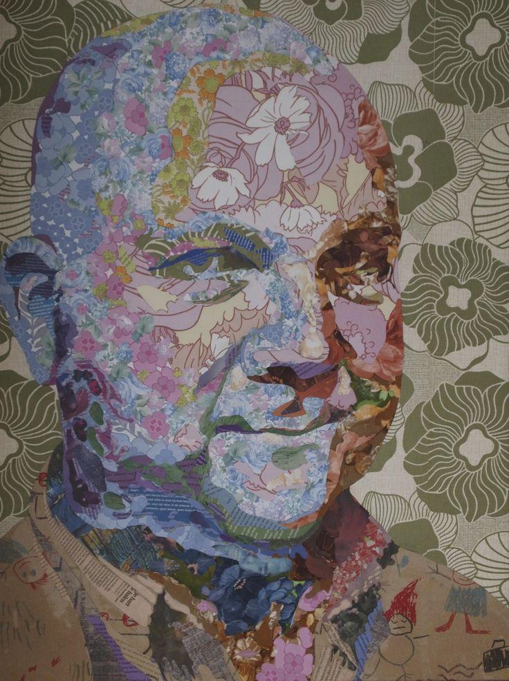 Rob Brugge in wallpaper and pieces of newspaper (de Volkskrant)