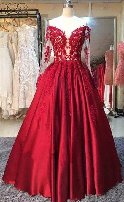 2017 Red Puffy Prom Dresses Off-the-Shoulder Long Sleeves Lace Appliques Evening Gowns