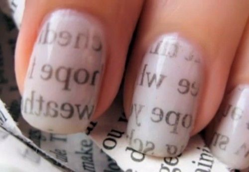 Clear coat - followed by gray or white - followed by dipping nails in alcohol - then pressing a book or newspaper print on nails - then clear coat.....
