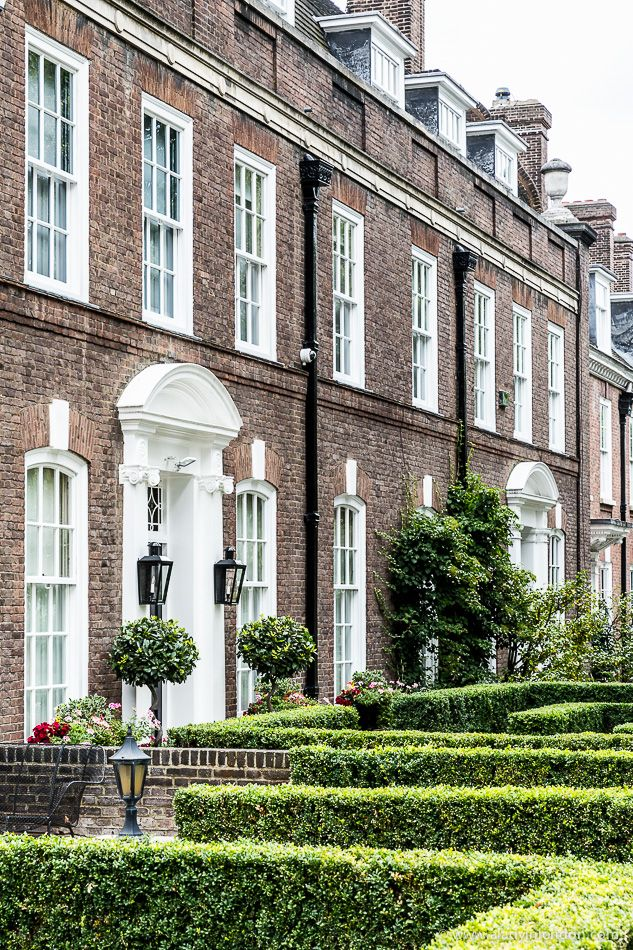 Houses and gardens on Melbury Road in Holland Park, London