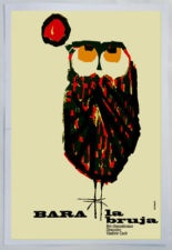 Cuban movie Poster 4 film Bara the WITCH.Owl modern art.La Lechuza Bruja.Lovely