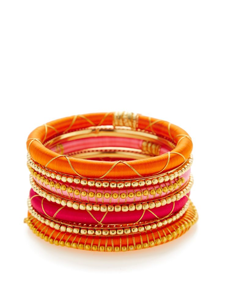 Set Of 7 Gold & Silk Bangle Bracelets by Rosena Sammi at Gilt
