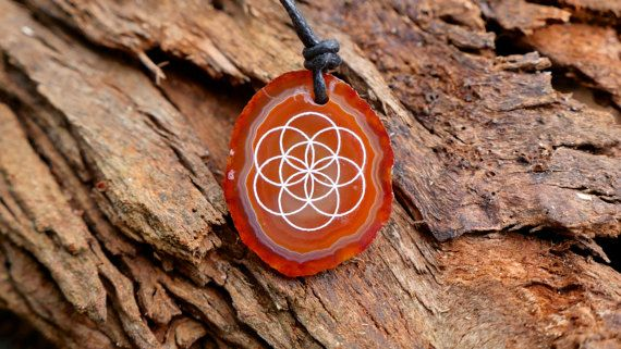 Seed of life agate slice crystal necklace laser engraved pendant