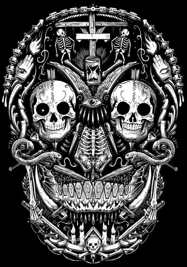 TOO MANY SKULLS by Rafal Wechterowicz, via Behance.  Tattoo design idea.