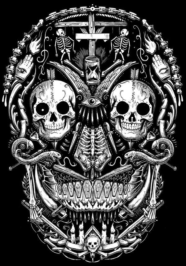 TOO MANY SKULLS by Rafal Wechterowicz, via Behance.  Tattoo design idea.