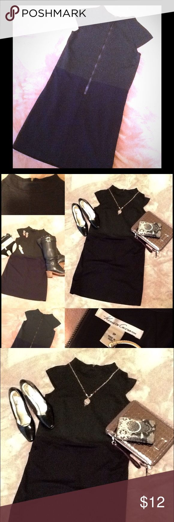 EUC KENNETH COLE EXPOSED ZIPPER CHARCOAL/BLACK Such a cute Kenneth Cole New York banded neckline, cap sleeve dress, with exposed zipper.  The bodice is charcoal gray, and the skirt is black.  Smooth double knit fabric.  EUC. Kenneth Cole New York Dresses