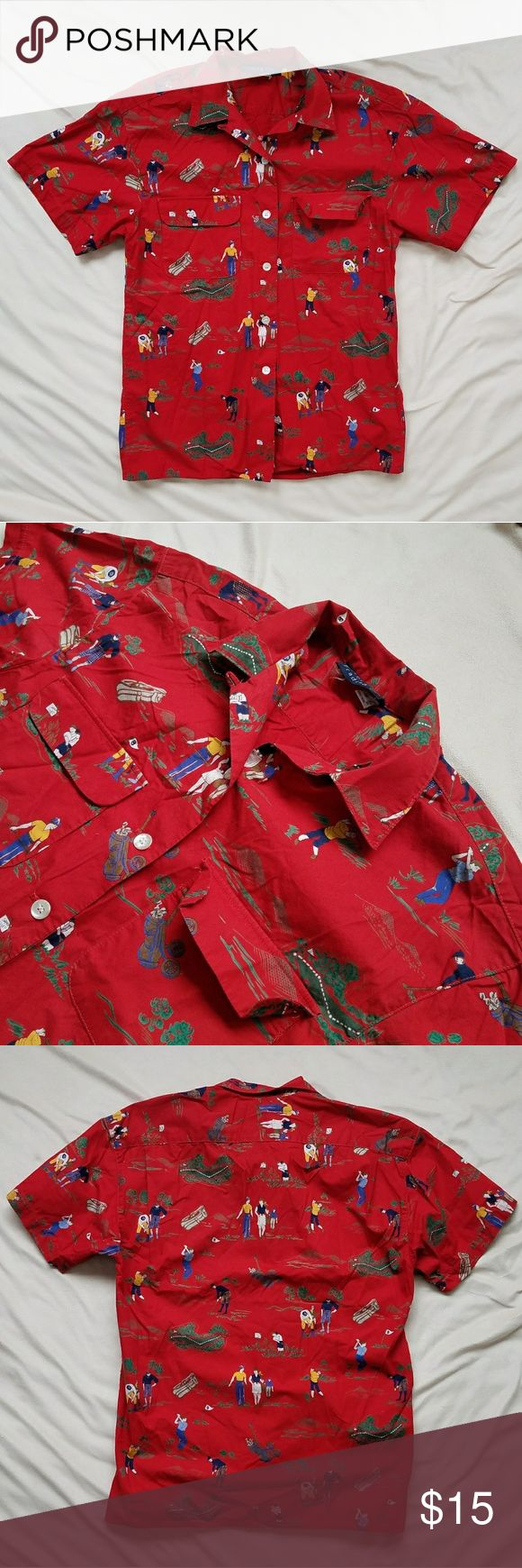 All Over Golf Print Button Up Dark red backround with various golfer illistrations, landscapes, and golf bags scattered all over the shirt. Two front chest pockets with ivory buttons.   Sized mens small and fits as such. Very light wash wear with no damage or stains present. Great condition! River Trading Company Shirts Casual Button Down Shirts
