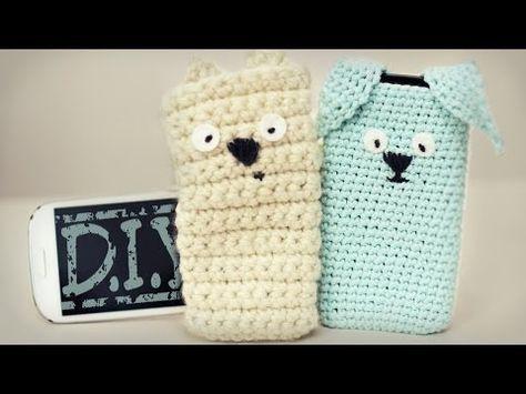 ▶ DIY Häkel Handy Hülle - Tiere - Hase, Teddy, Hund - Ohren - Ostern - YouTube