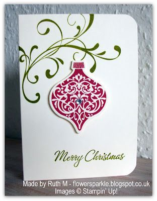 2012 Christmas Card - running way behind this year so used this design, went together fast, used branch w/berries stamp(x3) from SU Peaceful Wishes in lieu of swirl, Gumball Green and Raspberry Ripple, on half of the cards used red embossing powder for ornament.  Very cute!