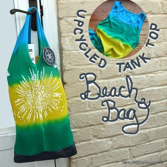 Stenciled Tank Top & Jeans Beach Bag